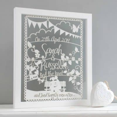 wedding or anniversary papercut