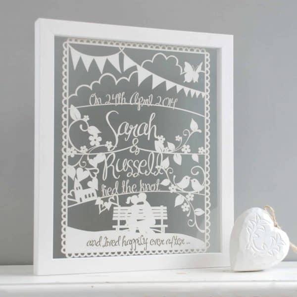 wedding or anniversary papercut