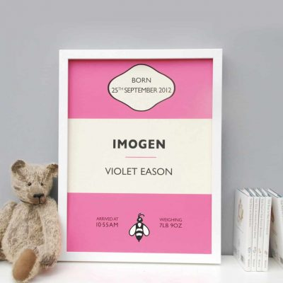 Personalised Presents from Mooks Design | Penguin Book Birth Print