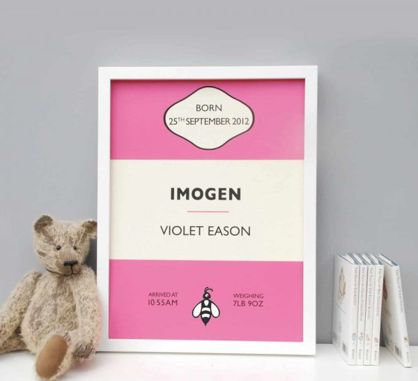 Personalised Presents from Mooks Design   Penguin Book Birth Print