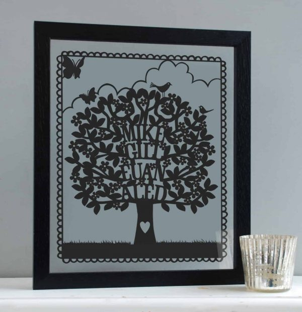 Family tree papercut from mooks design