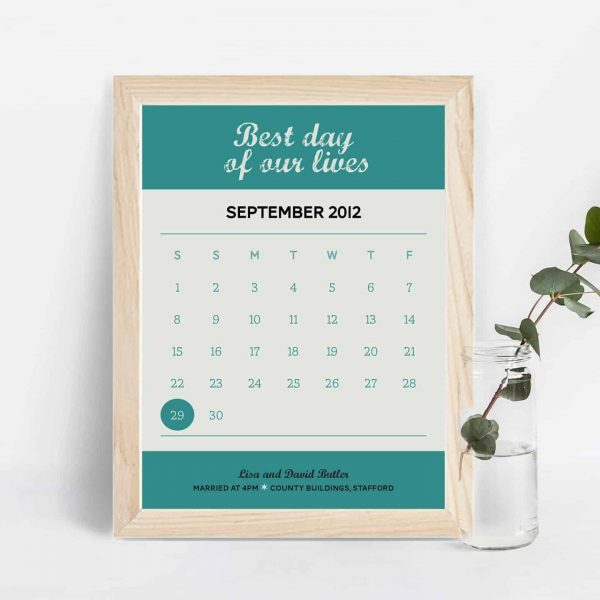 Best day personalised calendar date print from mooks design